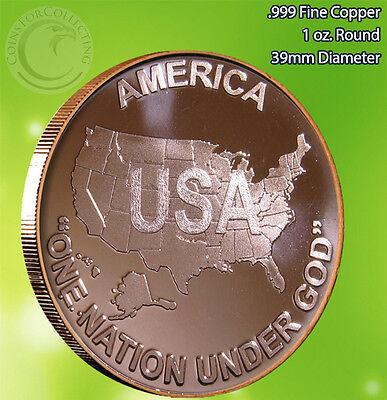 "USA /""One Nation Under God/"" 1oz Copper Round"
