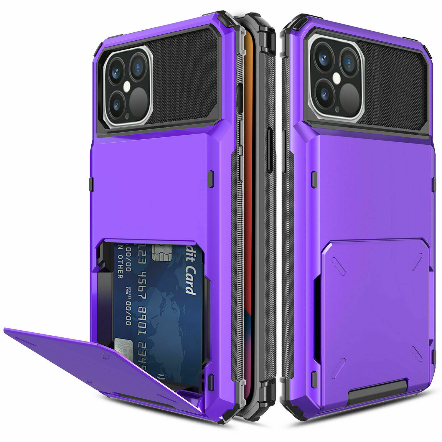 Herbose Case Compatible with iPhone 12-iPhone Pro Cover with Full Armor Wallet  iPhone Case for Card Holder Magnetic Car Mount and Kick Stand Metal and Leather Back 6.1 inch