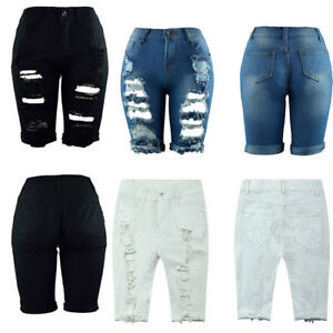 Plus-Size-Women-Casual-Denim-Ripped-Knee-Skinny-Destroyed-Bermuda-Shorts-Jeans