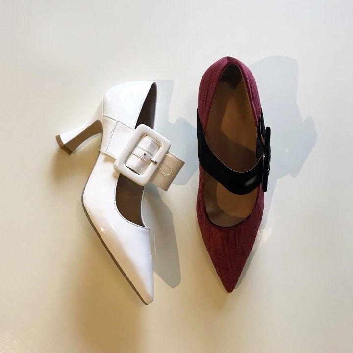 Handmade] Women Velvet  Buckle shoes MaryJane Attico Ankle Strap Pumps Point Toe