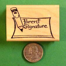 Parent Signature/Pencil, Teacher's wood mounted rubber stamp