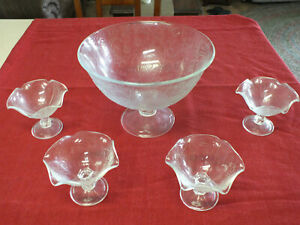 Southern Living at Home Pressed glass Serving Bowl with 4 Compote Dishes