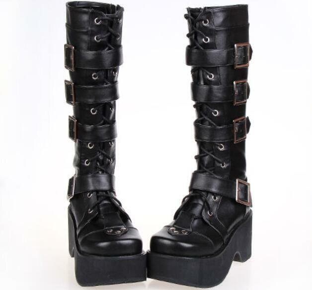 Womens Buckle Mid Calf boots Leather Casual Casual Casual Lace Up Punk New Mary Janes shoes 5ec195