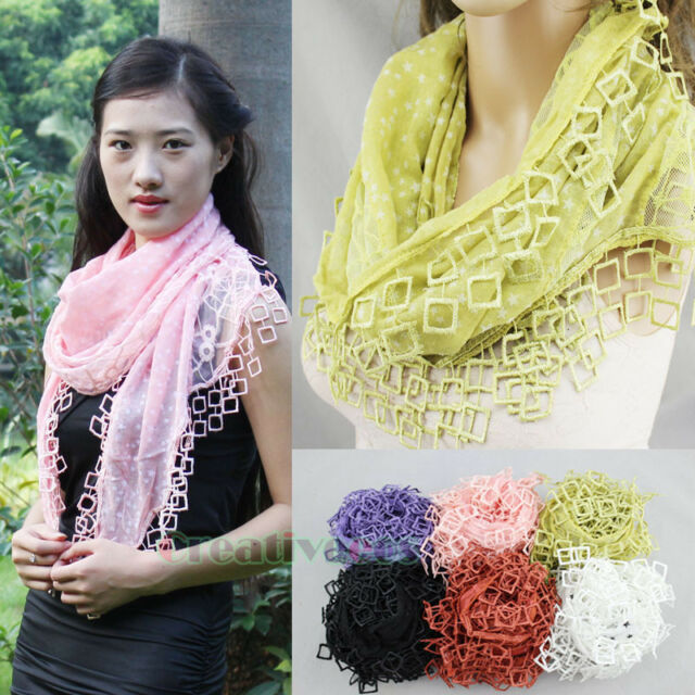 Fashion Women Stars Cobweb Mesh Squares Lace Trim Tassel Ladies Long Scarf Shawl