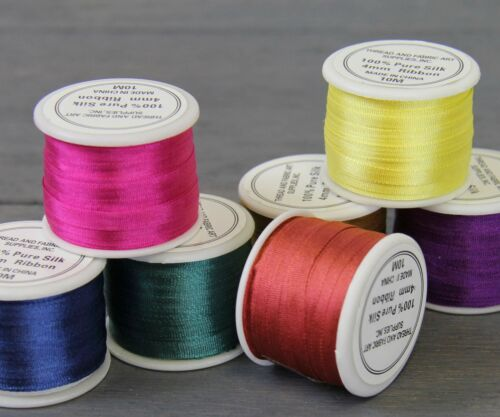 700-3 Sizes No 50 Colors Threadart 100/% Pure Silk Ribbon 4mm Natural
