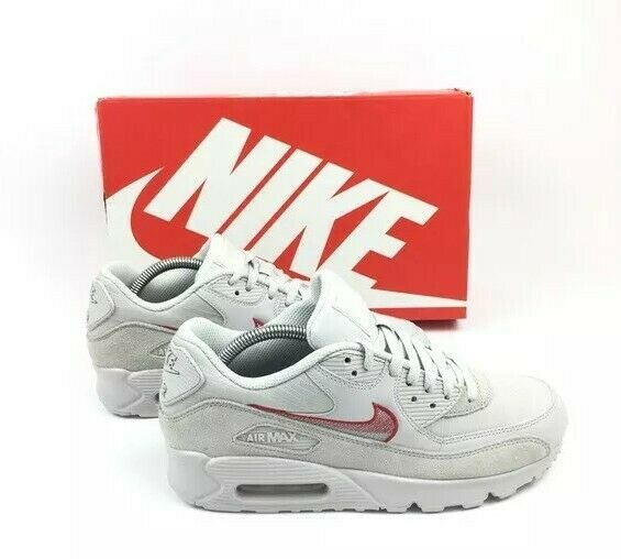 18e6c0e88f2 Nike Air Max 90 Leather Mens AH8443-003 GREY Red Running Shoes Size 8.5  🔥🔥 NEW