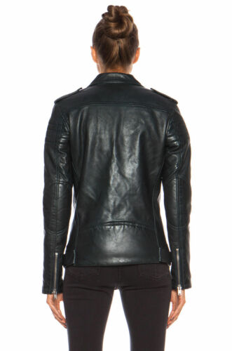 Slim Lambskin Women Black Fit Motorcycle Jacket Biker Leather AwAtzxq0T