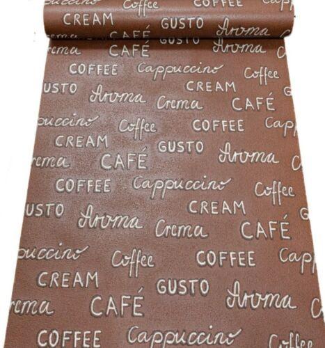 Rasch Gaufré Marron Café Texte Mots Cuisine Qualité Vinyle Papier Peint 931402