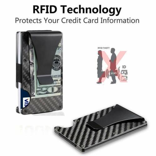 2 X MEN SLIM in fibra di carbonio porta carte di credito RFID Blocco Portafoglio Money Clip