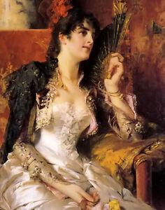 Oil painting conrad kiesel - beautifuk young girl senorita with a fan on canvas