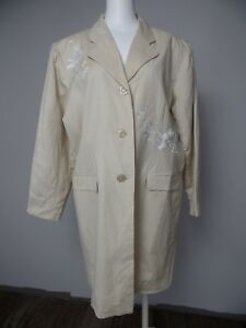 Cynthia-Taylor-Womens-Large-Khaki-Linen-Blend-Embroidered-Long-Blazer-Jacket