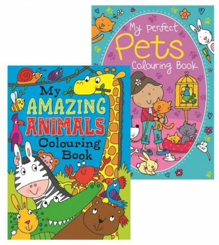 "2 x A4 Amazing /""Animals /& Pets/"" Colouring /& Sticker Books White Pages 100gsm"