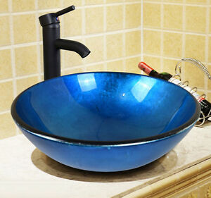 Round Tempered Glass Bathroom Vessel Sink Combo Blue w/ Oil Rubbed Bronze Faucet