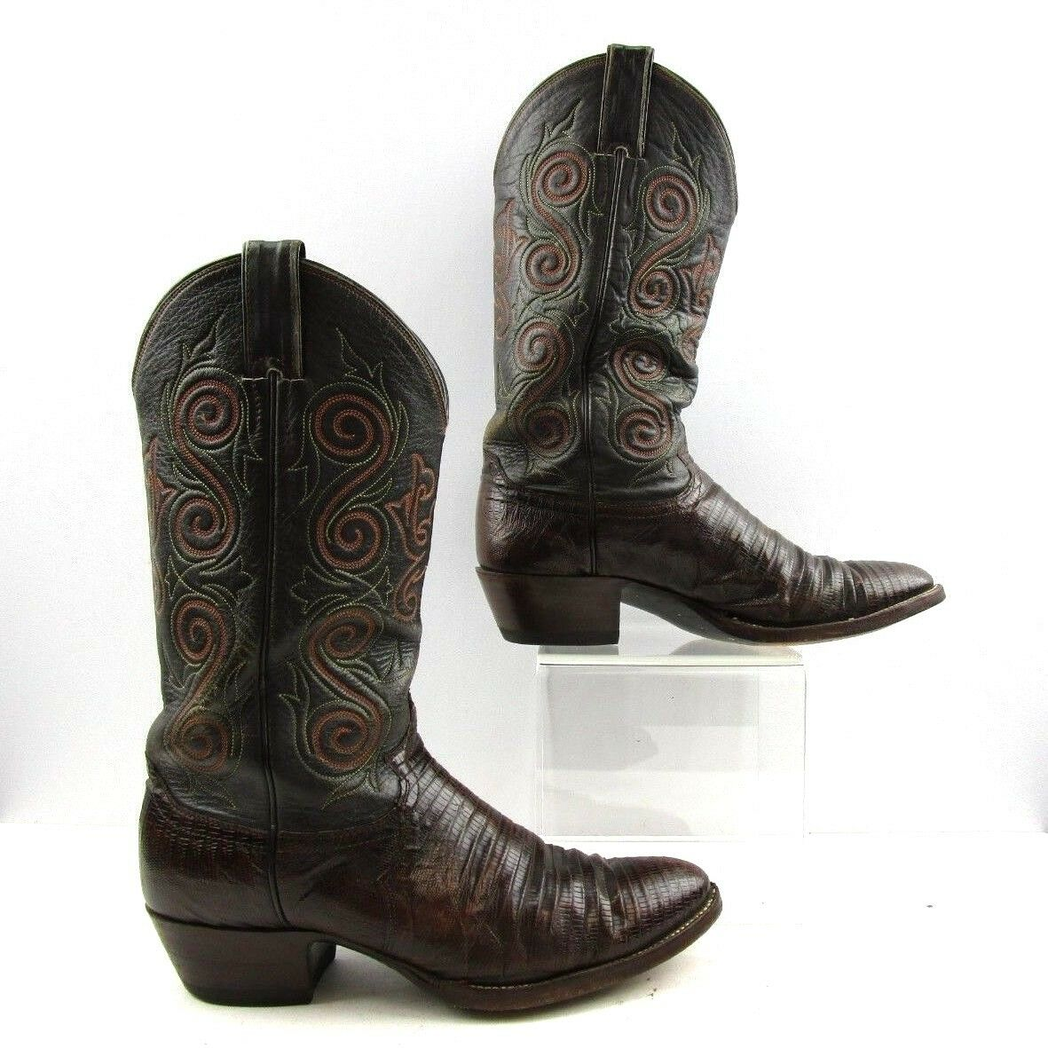 Men's Justin Two Tone Black Brown Lizard Leather Cowboy Boots Size  9.5 D