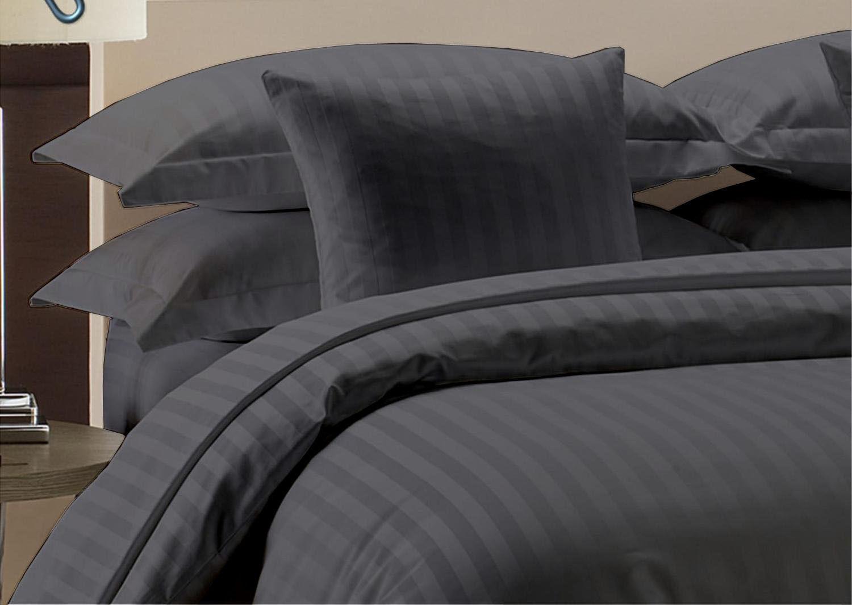 Bettwäsche Set + Passendes Leintuch Breites Doppelbett Dunkelgrey Streifen 1000
