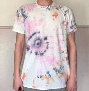 TIE-DYE-T-SHIRT-Tee-Hipster-Fashion-Tye-Die-Festival-Grunge-Pink-Orange-Grey-2XL