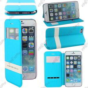 """Accessoire Housse Coque Etui S-view Flip Cover Bleu Apple Iphone 6 4,7"""""""