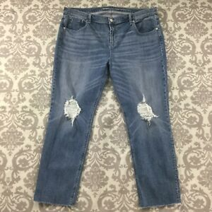 Old-Navy-Womens-Jeans-size-16-Medium-Wash-Boyfriend-Straight-Destroyed-Stretch