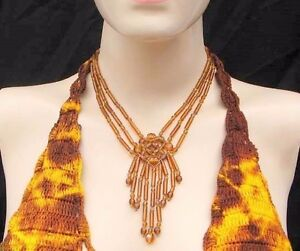 NEW-YELLOW-COLOR-GLASS-BEADED-HANDMADE-FASHION-NECKLACE-EARRINGS-SET-S31-1