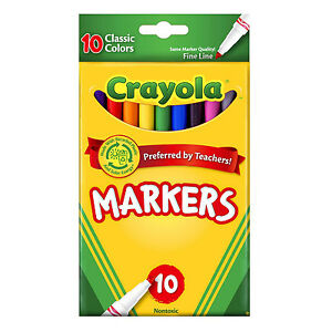 crayola washable markers fine tip classic assorted colors 10 pack