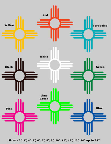 """20/"""" Peace ZIA New Mexico State Flag symbol Vinyl Decal Sticker Many colors"""