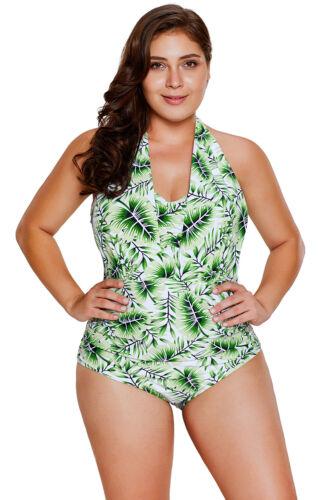 2019 1PC Monokini Green Tropical Leaf Bikini Bathing Suit Open Back Straps M-3XL