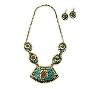 Antique Jewelry Tibetan Solid Brass Bib Collar Turquoise Coral Earring//Necklace