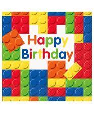 Lego Theme Birthday Party Napkins X 16 Building Blocks Tableware