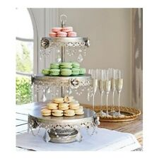 Silver 3-Tier Stand Server Serving Vintage-Look Cupcake Dessert Cake Buffet Tray