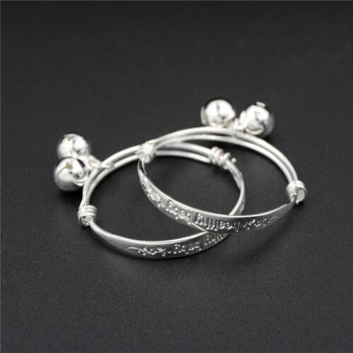 1Pair Silver Newborn Baby Bell Bangle Bracelet Health Somebody Loves Carved DR