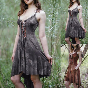 Women-039-s-Gothic-Lace-Up-Mini-Dress-Steampunk-Medieval-Party-Strappy-Dress-Fitness
