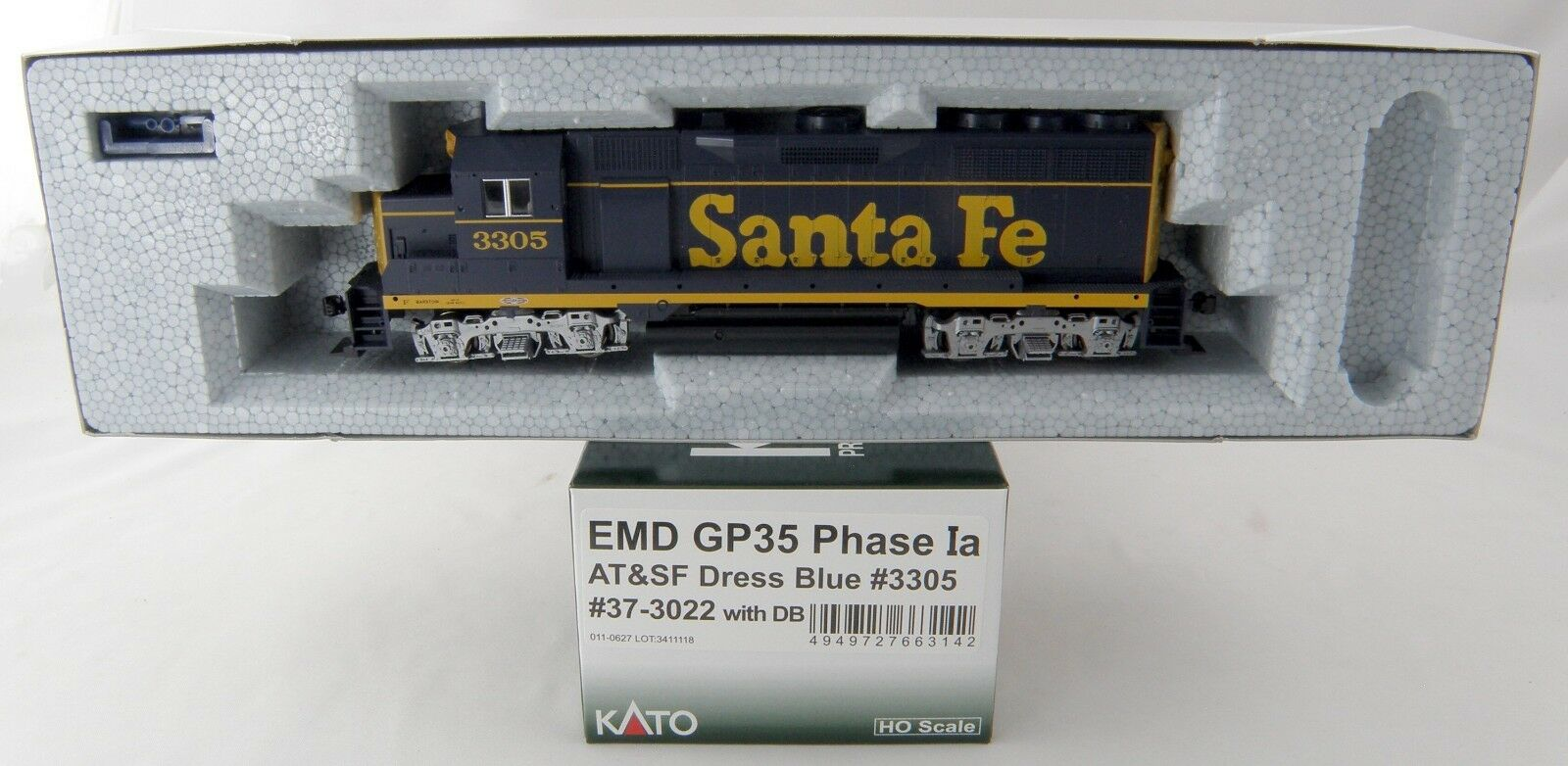 Escala Ho EMD GP35 Fase Ia Locomotora-AT&SF Vestido Azul 3305 - Kato 37-3022