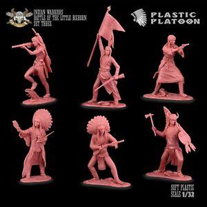 Plastique peloton Indiens Set # 3 Jouet Soldats Nouvelle Version 1:32 brun-rouge