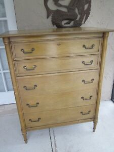 Details about Vintage 5 Drawer Chest Bassett Furniture Circa 1950\'s  Shipping not Included