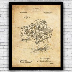 Motorcycle Sidecar Vintage Patent Design - Wall Art Print w