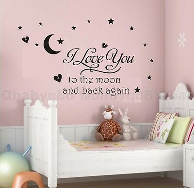 I love you to moon Wall quote decals stickers decor kids nursery Boy Girl art