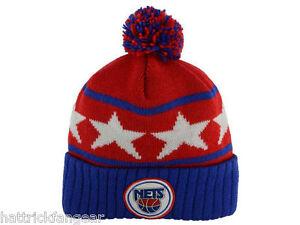 61496aeae58 New York Nets Mitchell   Ness NBA Stars Team Logo Pom Pom Knit Hat ...