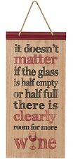 Fun Wood Sign/Plaque--Glass Half Full or Empty, Room for Wine by Carson