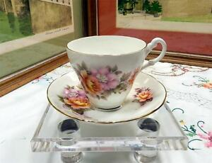 "VINTAGE ROYAL STUART YELLOW AND PINK FLORAL 3"" CUP & SAUCER SET"