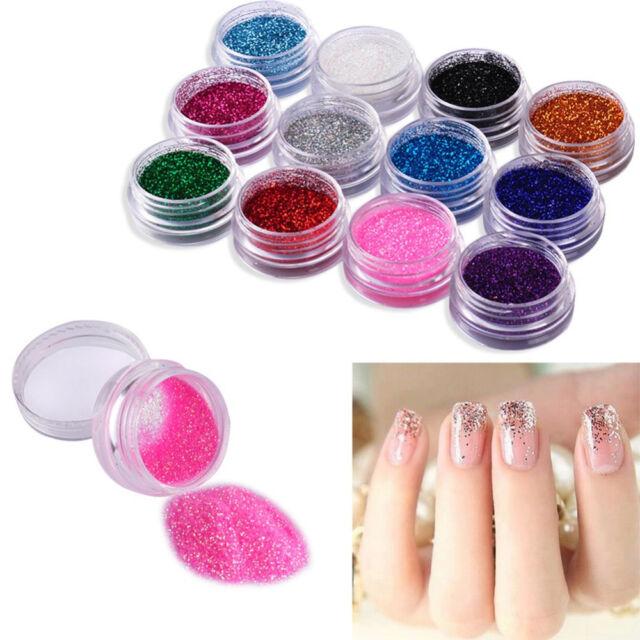12 Pcs Mixed Color Glitter Dust Powder Set For Nail Art Acrylic Tips