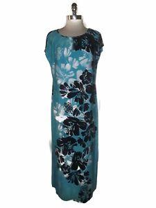 Details About Bob Mackie Wearable Art Size M Long Maxi Dress Black Turquoise Blue Stretch Knit