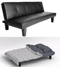 Black Click Clack Sofa Bed Faux Leather 2 3 Seater Settee Sofabed Couch Futon