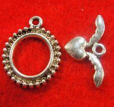 25Sets WHOLESALE Tibetan Silver ROUND w/ HEART Toggle Clasps Connectors Q0575