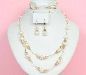14K-Yellow-Gold-Natural-White-genuine-Pearl-Necklace-Bracelet-Earrings-Set