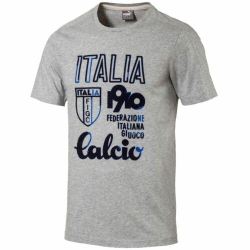 Medium Grey PUMA Italy Football Men/'s FIGC Azzurri Calcio T-Shirt New