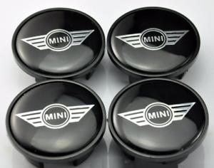 4-x-54mm-Mini-Cooper-Logo-Schwarz-Nabenkappen-Felgendeckel-Allufelge-Satz