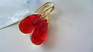 SOLID-STERLING-SILVER-925-EARRINGS-WITH-GENUINE-SWAROVSKI-CRYSTAL-SIAM-RED