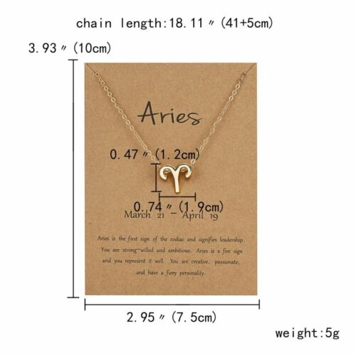 Fashion Women Constellations Pendant Necklace Gold Clavicle Chain Card Jewelry