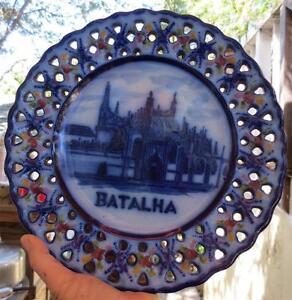 VINTAGE-ANTIQUE-BATALHA-CHURCH-FLOW-BLUE-PAL-ALCOBACA-PORTUGUESE-CERAMIC-PLATE
