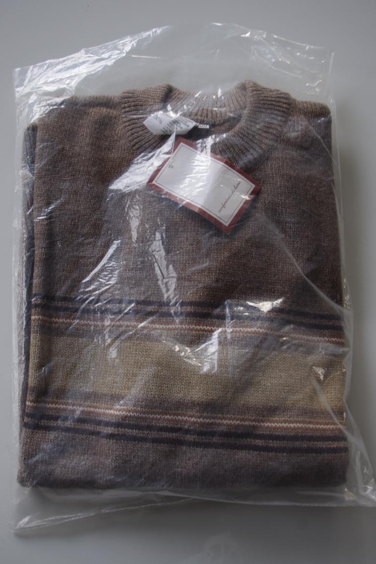 Herren Streifen Pullover NOS Wolle True Vintage 80er braun Gr.50 sweater 80s